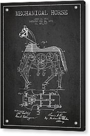 Mechanical Horse Patent Drawing From 1893 - Dark Acrylic Print by Aged Pixel