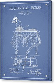 Mechanical Horse Patent Drawing From 1893 - Light Blue Acrylic Print by Aged Pixel