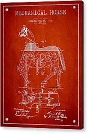 Mechanical Horse Patent Drawing From 1893 - Red Acrylic Print