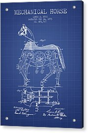 Mechanical Horse Patent From 1893- Blueprint Acrylic Print by Aged Pixel