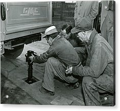 Mechanics Working On Vintage Truck Acrylic Print by Retro Images Archive