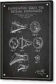 Medical Instrument Patent From 1964 - Dark Acrylic Print by Aged Pixel