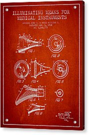 Medical Instrument Patent From 1964 - Red Acrylic Print by Aged Pixel