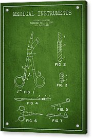 Medical Instruments Patent From 2001 - Green Acrylic Print by Aged Pixel