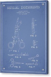 Medical Instruments Patent From 2001 - Light Blue Acrylic Print
