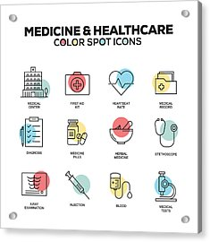 Medicine And Healthcare Icons. Vector Line Icons Set. Premium Quality. Modern Outline Symbols And Pictograms. Acrylic Print by Cnythzl