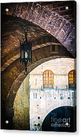 Acrylic Print featuring the photograph Medieval Arches With Lamp by Silvia Ganora