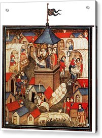Medieval Benediction And Market Fair Acrylic Print