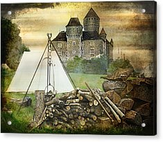 Medieval Castle Of Montrottier - France Acrylic Print by Barbara Orenya