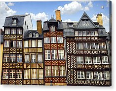 Medieval Houses In Rennes Acrylic Print by Elena Elisseeva