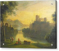 Medieval Landscape With People Acrylic Print by Unknown