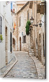 Medieval Street In Sitges Old Town Spain Acrylic Print