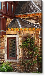 Medieval Window And Rose Bush In Germany Acrylic Print by Greg Matchick