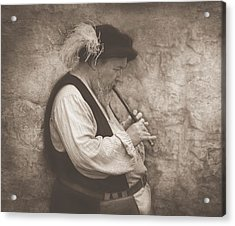 Medieval Flute Player Acrylic Print by Pat Abbott