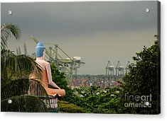 Acrylic Print featuring the photograph Meditating Buddha Views Container Seaport Singapore by Imran Ahmed