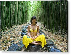 Meditation In Bamboo Forest Acrylic Print by M Swiet Productions