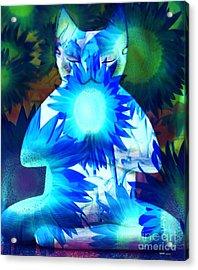 Meditation Kitty / Midnight Meditations On The Blue Sunflower Acrylic Print by Elizabeth McTaggart