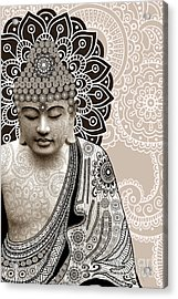 Meditation Mehndi - Paisley Buddha Artwork - Copyrighted Acrylic Print by Christopher Beikmann