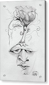 Meditation On The Crown Chakra Or Where Is Your Mind Going Surrealistic Fantasy Of Face With Energy  Acrylic Print
