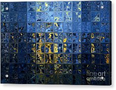 Mediterranean Blue. Modern Mosaic Tile Art Painting Acrylic Print by Mark Lawrence