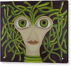 Medusa In Purple Acrylic Print by Coqle Aragrev