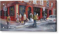 Meet Me At The Corner Bar Acrylic Print by Leah Wiedemer