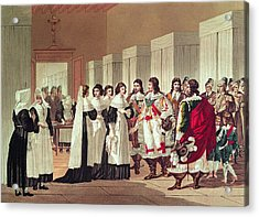 Meeting Between Louis Xiii 1601-43 And Marie-louise Motier De La Fayette 1615-65 At Lhotel-dieu Acrylic Print by Hippolyte Lecomte