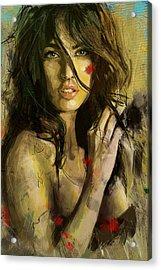 Megan Fox Acrylic Print by Corporate Art Task Force