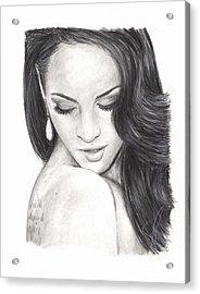 Megan Fox Acrylic Print by Rosalinda Markle