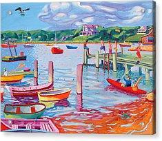 Megansett Dock With Osprey Acrylic Print by Sean Boyce