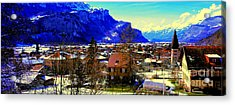 Acrylic Print featuring the photograph Meiringen Switzerland Alpine Village by Tom Jelen
