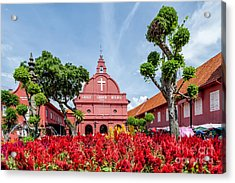 Melaka Red Square Acrylic Print by Adrian Evans