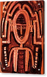 Melanesian Icon Acrylic Print by Anne-Elizabeth Whiteway