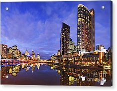 Melbourbe Skyline And Yarra River At Twilight Square Acrylic Print by Colin and Linda McKie