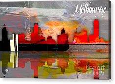 Melbourne Australia Skyline Watercolor Acrylic Print