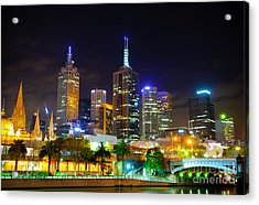 Melbourne City Skyline - Skyscapers And Lights Acrylic Print by David Hill