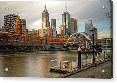 Melbourne City View From Southbank Pier Acrylic Print by Mariusz Kluzniak