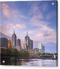 Melbourne Skyline Twilight Square Acrylic Print