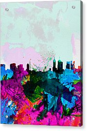 Melbourne Watercolor Skyline Acrylic Print by Naxart Studio