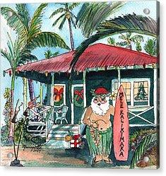Mele Kalikimaka Hawaiian Santa Acrylic Print