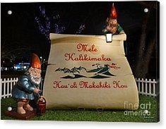 Mele Kalikimaka Sign And Elves Acrylic Print