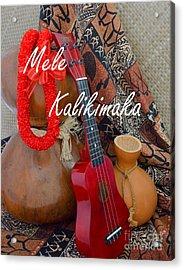 Mele Kalikimaka With Red Ribbon Lei Acrylic Print