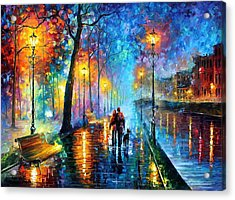 Melody Of The Night - Palette Knife Landscape Oil Painting On Canvas By Leonid Afremov Acrylic Print by Leonid Afremov