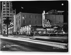 Mel's Drive-in Black And White Acrylic Print by Eddie Yerkish