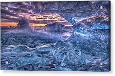 Melting Blue Crystal Acrylic Print by Peter Svoboda, Mqep