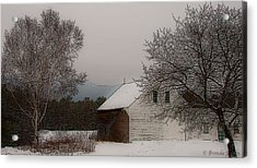 Melvin Village Barn In Winter Acrylic Print