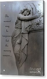 Memorial Art Statue - Haunting Cemetery Statue Inspirational Art Acrylic Print by Kathy Fornal