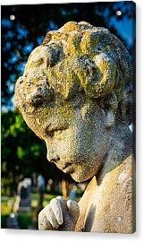 Memphis Elmwood Cemetery - Boy Angel Vertical Acrylic Print by Jon Woodhams