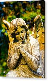 Memphis Elmwood Cemetery - Praying Angel Acrylic Print by Jon Woodhams