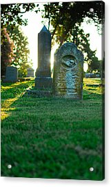Memphis Elmwood Cemetery - Backlit Grave Stones Acrylic Print by Jon Woodhams